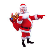 Illustration of santa carrying gift bag Royalty Free Stock Images