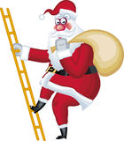 Illustration of Santa Claus. In various poses on a ladder Royalty Free Stock Image