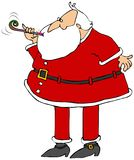 Santa blowing on a noisemaker royalty free illustration