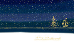 Illustration with Santa Claus and Christmas tree. Royalty Free Stock Images