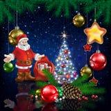 Santa Claus and Christmas decorations Stock Photos