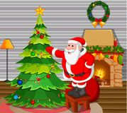 Santa claus with christmas tree in living room and fire. Illustration of santa claus with christmas tree in living room and fire place Royalty Free Stock Images