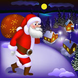Illustration of Santa Claus coming with gifts to the snowy town Stock Images