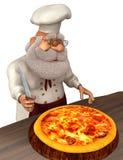 Illustration Santa Claus Cooks 3D in der Karikatur Stule Isolated On White Stock Abbildung