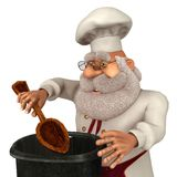 Illustration Santa Claus Cooks 3D in der Karikatur Stule Isolated On White Lizenzfreies Stockfoto