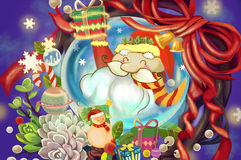 Illustration: Santa Claus in the Crystal Ball wish you Merry Christmas and Happy New Year! Holiday Theme. Royalty Free Stock Photos