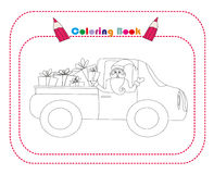 Illustration of Santa Claus driving car with Christmas gifts Stock Image