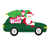 Illustration of Santa Claus driving car Royalty Free Stock Photography