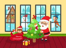 Illustration of santa claus happy new year and merry christmas.v Royalty Free Stock Images