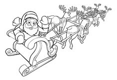 Santa and his Flying Sleigh and Reindeer Royalty Free Stock Photo