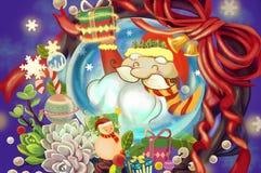 Illustration: Santa Claus i den Crystal Ball önskaen dig glad jul och lyckligt nytt år! Ferietema Royaltyfria Foton