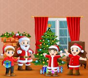 Santa claus and kids celebration a christmas in the home. Illustration of Santa claus and kids celebration a christmas in the home vector illustration