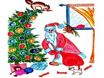 Santa Claus puts presents under the tree Stock Photos