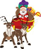 An illustration of Santa Claus riding in his Christmas Sleigh or Sled delivering presents. On a white background.Isolate Stock Photo