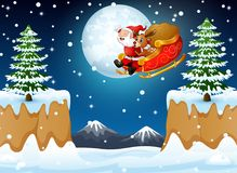 Santa Claus riding his sleigh flying over hill. Illustration of Santa Claus riding his sleigh flying over hill Royalty Free Stock Image