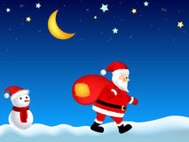 Illustration of Santa Claus with sack. Illustration of Santa Claus carrying big sack walking in snow at night Royalty Free Stock Images