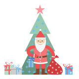 Illustration of Santa Claus with sack and christmas tree Royalty Free Stock Photos
