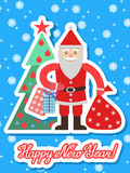 Illustration of Santa Claus with sack in a flat style and christmas tree Royalty Free Stock Photo