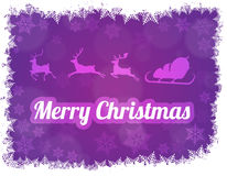 Illustration of Santa Claus silhouette with sleigh and three reindeers. Vector illustration of Santa Claus silhouette with sleigh and three reindeers. Purple Stock Photo