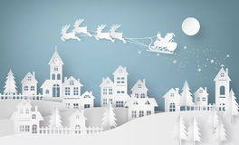 Illustration of Santa Claus on the sky coming to City Stock Images