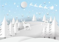 Illustration of Santa Claus on the sky with snowflake, deer and tree, paper art and craft style Stock Images