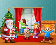 Santa claus and some kids celebrating a christmas at home. Illustration of Santa claus and some kids celebrating a christmas at home vector illustration