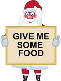 Illustration of Santa Claus in various poses food. Illustration of Santa Claus in various poses with poster give me some food Royalty Free Stock Photos
