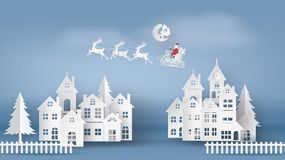 Illustration of Santa Clause on the sky coming to City vector illustration