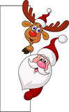 Santa and deer cartoon with blank sign Royalty Free Stock Photo