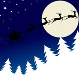 Illustration of Santa and his reindeer Stock Photo