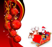 Illustration of santa with his sleigh and laptop Royalty Free Stock Photography