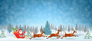 Illustration of Santa and Reindeer on the snow Stock Images