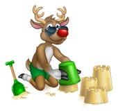 Santas Reindeer in Shades Sunglasses on the Beach royalty free illustration