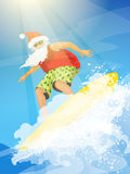 Illustration with Santa surfer riding the wave. Vector cartoon style illustration of Santa surfer riding the wave. Holiday Christmas and New Year greeting card Stock Image