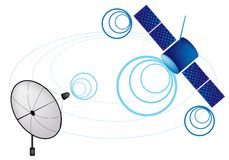 An Illustration of Satellite and Satellite Dish Royalty Free Stock Photo