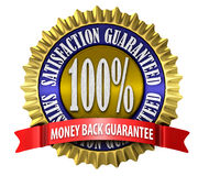 Satisfaction Guaranteed Seal. An illustration of a 100% satisfaction guaranteed seal on white Stock Photography