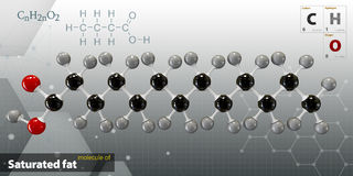 Illustration of saturated fat Molecule isolated gray background. 3d Illustration of saturated fat Molecule isolated gray background Stock Images