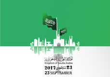 Illustration of Saudi Arabia flag for National Day 23 rd september. Illustration of Saudi Arabia  National Day 23 rd september WITH Vector Arabic Calligraphy Stock Photo