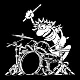 Illustration sauvage de vecteur de bande dessinée de Playing Drum Set de batteur photographie stock libre de droits