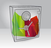 Illustration of the save with 3d elements. Simple art for web and print design appealing for abstract theme Stock Images