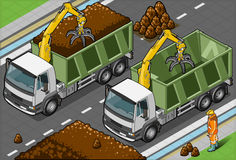 Isometric Containers Trucks with Arm Stock Photo