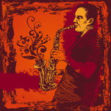 Illustration with saxophonist in grunge style Royalty Free Stock Photo