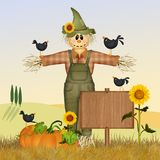 Scarecrow in the field royalty free illustration