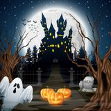 Scary castle with ghost and pumpkins in the woods. Illustration of Scary castle with ghost and pumpkins in the woods Royalty Free Stock Photos