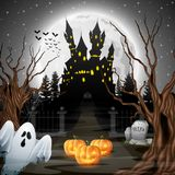 Scary castle with ghost and pumpkins in the woods. Illustration of Scary castle with ghost and pumpkins in the woods Stock Images