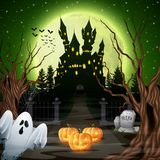 Scary castle with ghost and pumpkins in the woods. Illustration of Scary castle with ghost and pumpkins in the woods Royalty Free Stock Photography