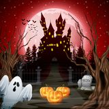 Scary castle with ghost and pumpkins in the woods. Illustration of Scary castle with ghost and pumpkins in the woods Royalty Free Stock Image
