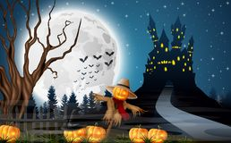 Scary castle with scarecrow and pumpkins on the full moon. Illustration of Scary castle with scarecrow and pumpkins on the full moon royalty free illustration