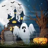 Scary church background with ghost and pumpkins stock illustration