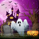 Scary church background with ghost and pumpkins. Illustration of Scary church background with ghost and pumpkins Stock Image